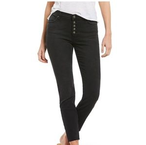 Free People Reagan Black button front skinny jeans